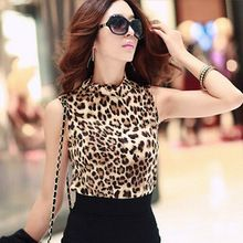 2016 American Apparel Algodão T Camisa Roupas Femininas Sexy Leopard Shirt das Mulheres gola Alta T Shirt Sem Mangas Mulheres Femme(China (Mainland))