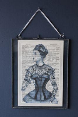 Antique Book Paper Prints - Blue Tattoo Lady