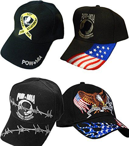 POW/MIA Hat Veteran Baseball Caps- Multiple Styles (POW/MIA Hat (Flag, Eagle, Barbwire & Ribbon))