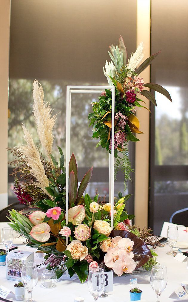 Table Decoration Flower Arrangement Orchids Proteas Tulips Lisianthus Anthuriums Cl Foliage Wedding Decor Modern Floral Centerpieces Floral Centerpieces