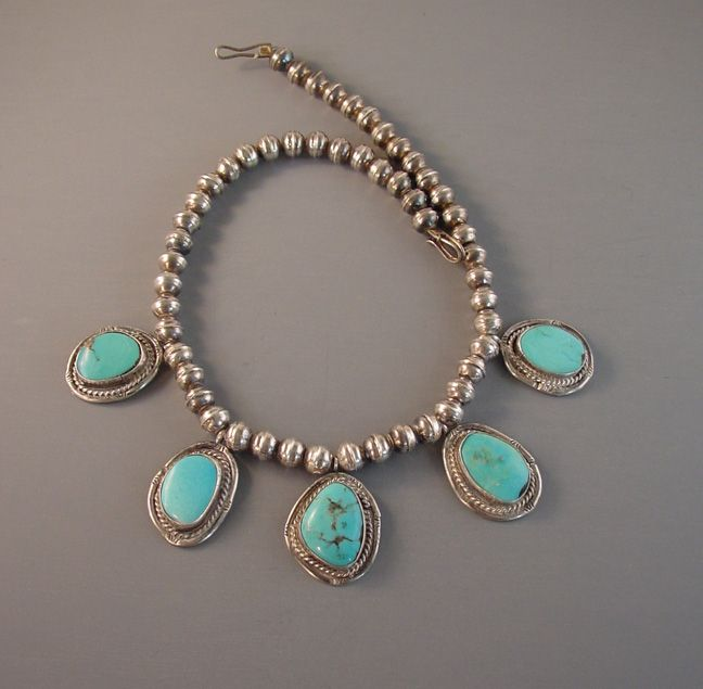 Native American Navajo sterling Nevada Blue turquoise necklace
