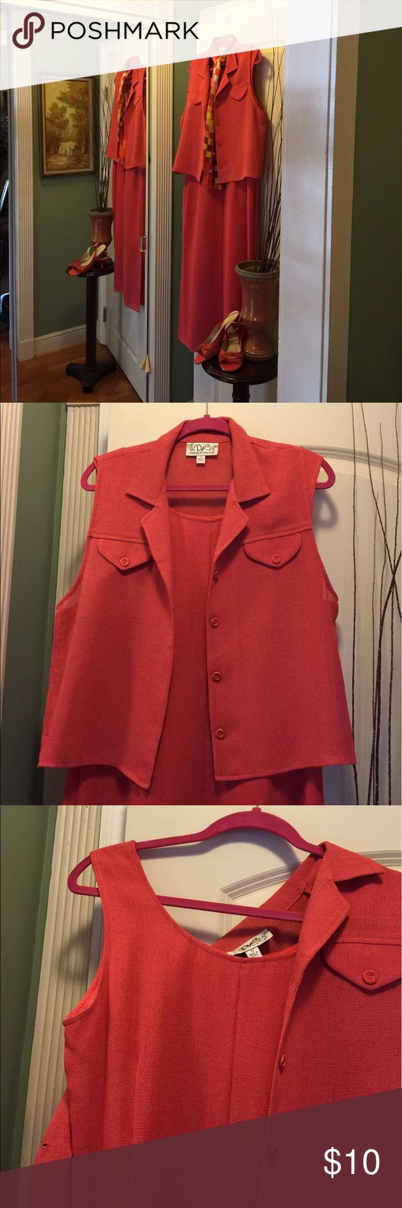 🌺Coral Dress Donna Ricco🌺 Crisp Coral 2 piece dress with matching sleeveless jacket by Donna Ricco almost maxi long jacket sized 12 dress size 10 jacket has lovely pocket and button detail made of 100% polyester  dress will fit size 12easily Donna Ricco Dresses Maxi