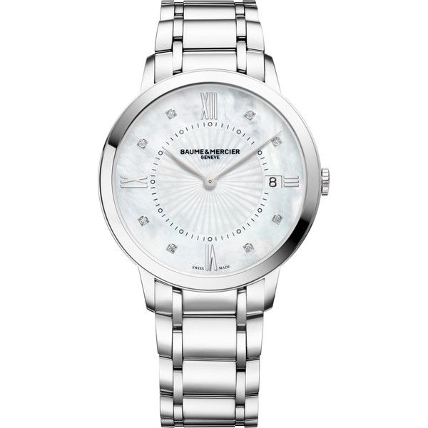 MOA10225 Baume & Mercier Classima Womens 36mm Quartz Watch - BRAND NEW ($995) ❤ liked on Polyvore featuring jewelry, watches, baume mercier watches, quartz watches, quartz jewelry and quartz wrist watch