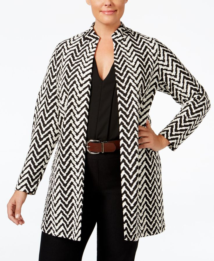 Jm Collection Plus Size Chevron Open-Front Jacket, Only at Macy's