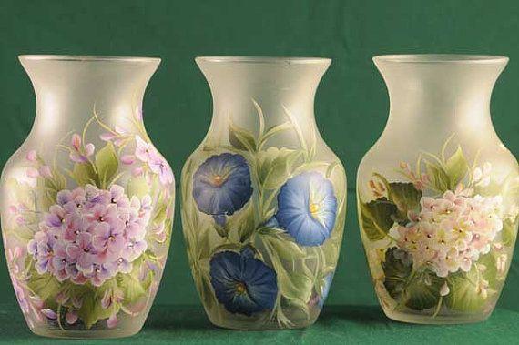 Lighted Clear Rose Vase/ Lamp/ Handpainted Floral Designs