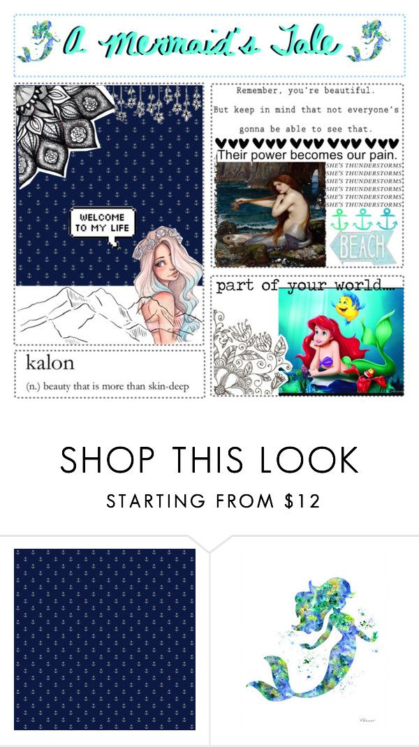 """""""The History of Mermaids"""" by carrxts ❤ liked on Polyvore featuring York Wallcoverings and Disney"""