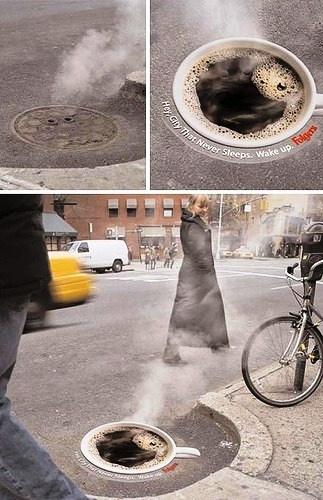 ☕ Steaming coffee street art ☕ Trompe l'oeil