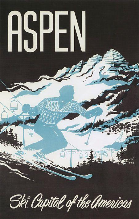 vintage ski postet - ASPEN