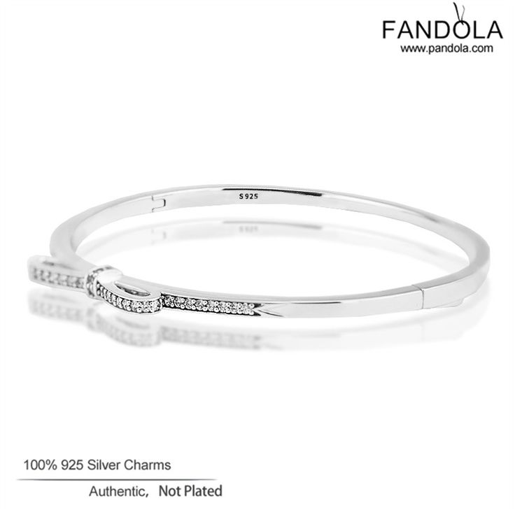 2017 Valentine's Day Sterling-Silver-Jewelry Clear CZ Bangle Bracelet Sparkling Bow Charm Bangles for Women FLB015