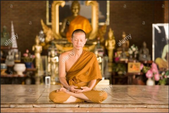 Religion: In this image, there is a monk praying and meditating on the floor of a temple. In South Korea a third of the population is Buddhist. Monks and Buddhist nuns pray and meditate all day. Monks are trained to meditate for very long periods of time, like a couple of days without stopping.  Monks were orange robes becauase when they first started out they only had access to orange dye.