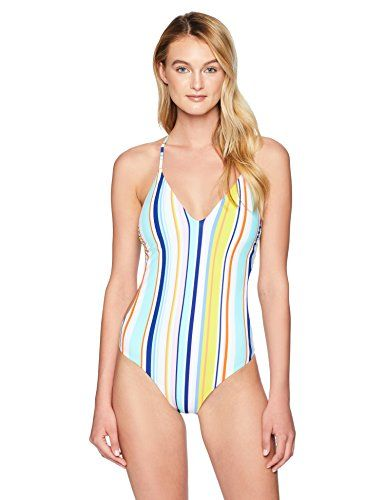 5da26098f2a Nanette Lepore Women's V-Neck Strappy Back One Piece Swimsuit, Multi,  Large. One-piece bathing suit with front keyhole cut-out and cross-back