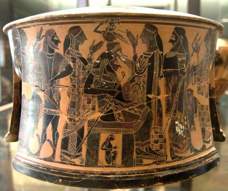 """Exaleiptron birth Athena Louvre CA616. Artist/Maker C Painter Birth of Athena. Attic """"Exaleiptron"""" (black-figured tripod), ca. 570–560 BC. Found in Thebes"""
