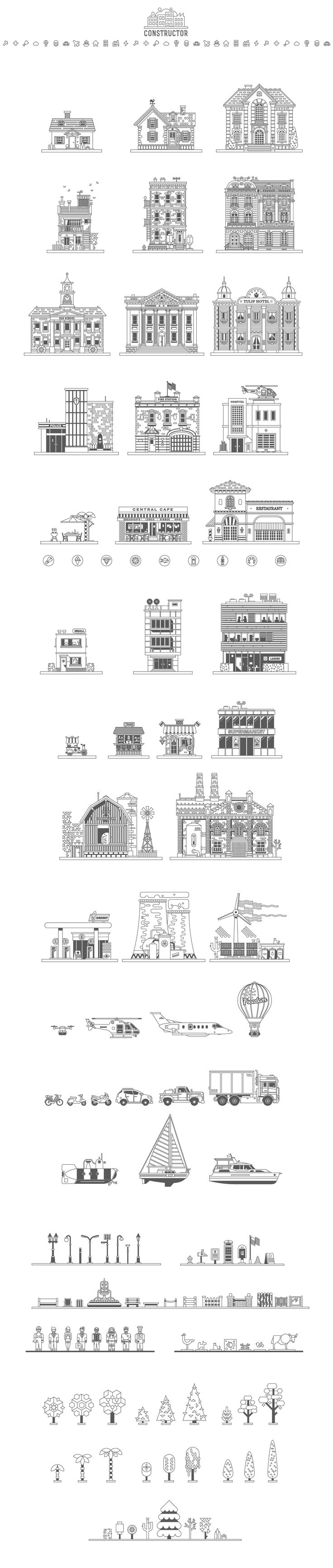 Construct Your City - Vector KIT by Oleg Beresnev