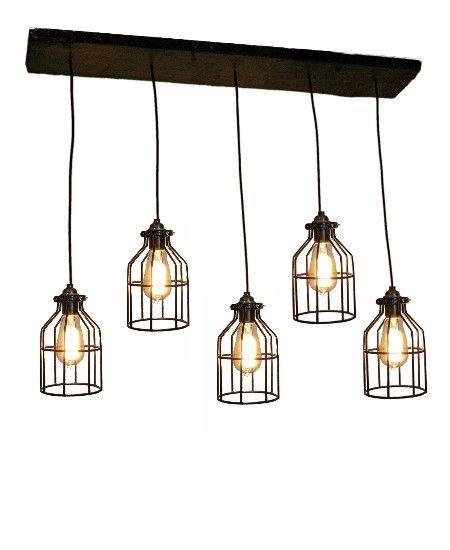 Reclaimed wood chandelier 5 cage pendants customizable