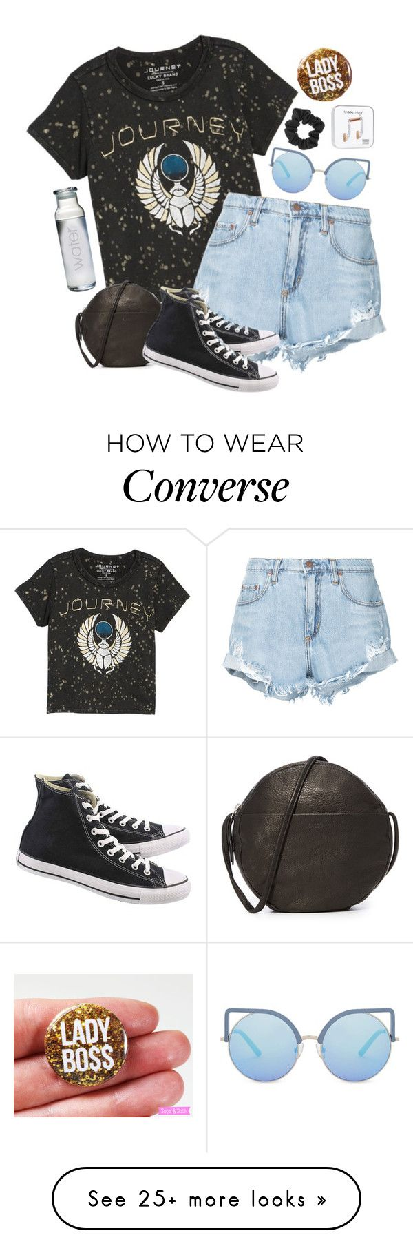 """Untitled #2889"" by pageinabook on Polyvore featuring Lucky Brand, BAGGU, Nobody Denim, Converse, Matthew Williamson, Happy Plugs and Susquehanna Glass"