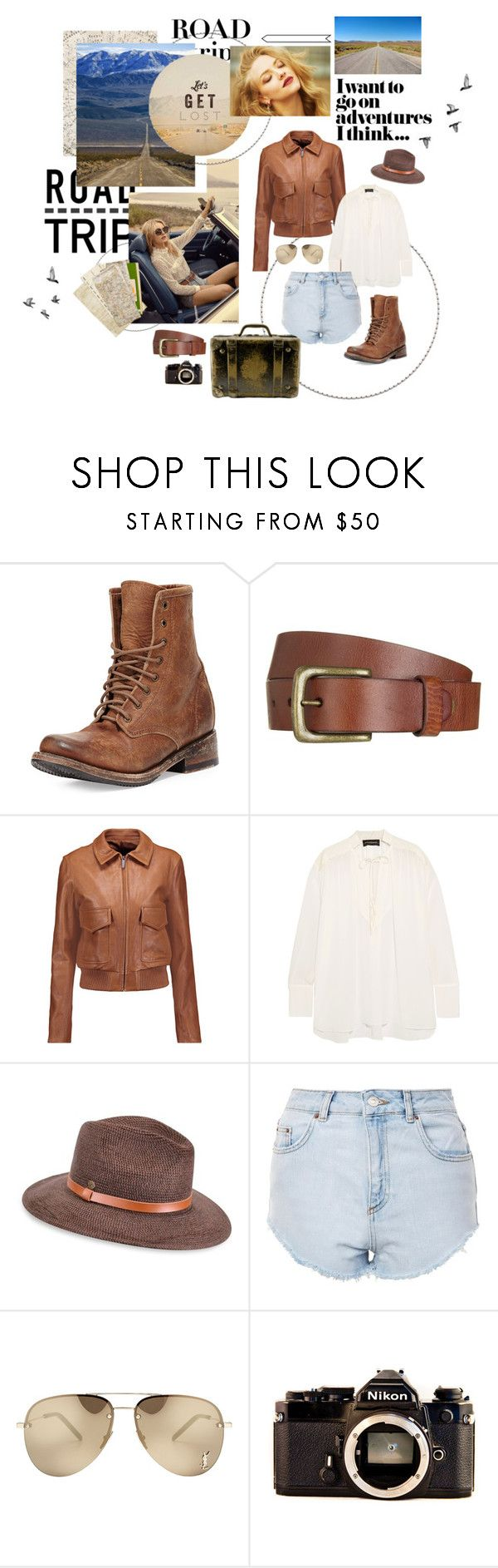 """""""The road goes ever on and on - Road trip"""" by svenjadobbert ❤ liked on Polyvore featuring Freebird, Will Leather Goods, Helmut Lang, By Malene Birger, Karen Kane, Topshop, GET LOST, Hai, Yves Saint Laurent and Nikon"""