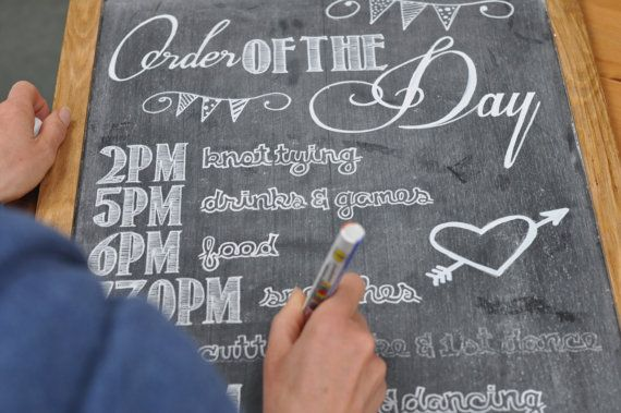 Personalised wedding blackboard sign for by RusticWeddingGraphic