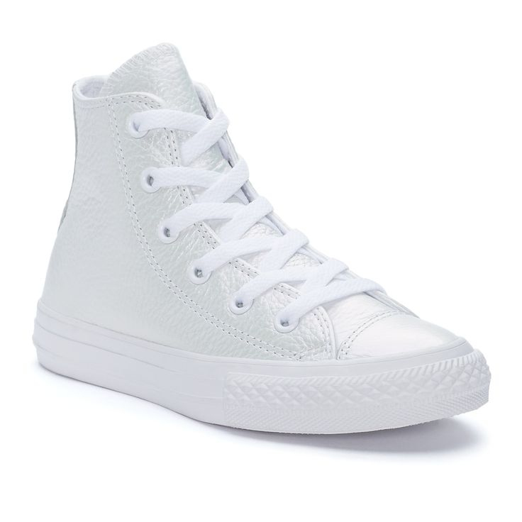 Girls' Converse Chuck Taylor All Star Iridescent Leather High Top Sneakers, Size: 11, White