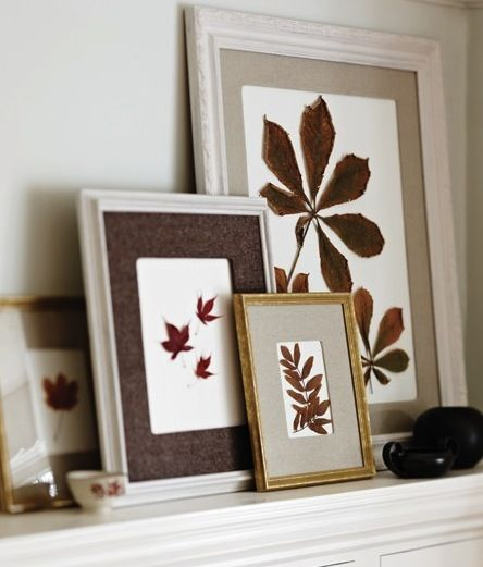 Frame up various sizes of leaves in various sizes of frames for an interesting mantel-scape. ---------------