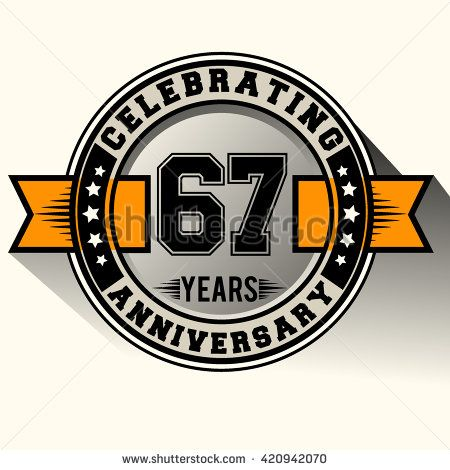 Celebrating 67th anniversary logo, 67 years anniversary sign with ribbon, retro design. - stock vector