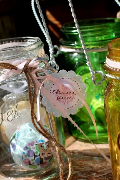 Vintage Shabby Chic Party Favors   Ceramic Monogram Ball And Tea Cookie In  A Mason Jar