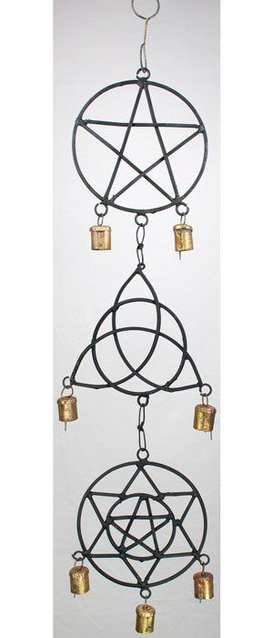 This elegant wind chime features a dangling Pentagram, Triquetra, and hexagram symbol sometimes known as Solomon's seal, with copper bells dangling from each.
