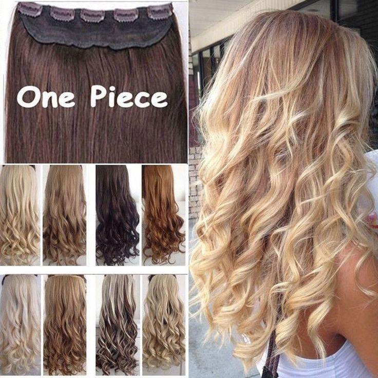 """17 """"24"""" 27 """"3/4 Volledige Hoofd Clips in Haarverlenging Zwart Blond Haarstukje Fashion Lange Synthetische Krullend Wave Haar Uitbreidingen"""