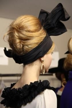 updo with black bow | Hairstyles and Beauty Tips