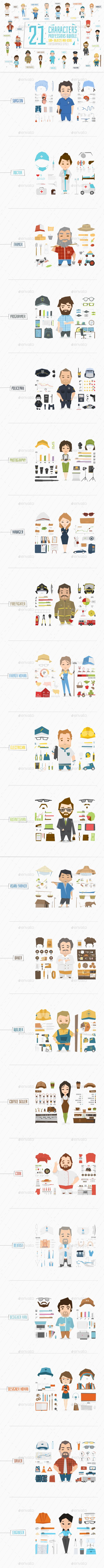 21 Professions Characters Vector EPS, AI Illustrator. Download here: https://graphicriver.net/item/21-professions-characters/14040075?ref=ksioks
