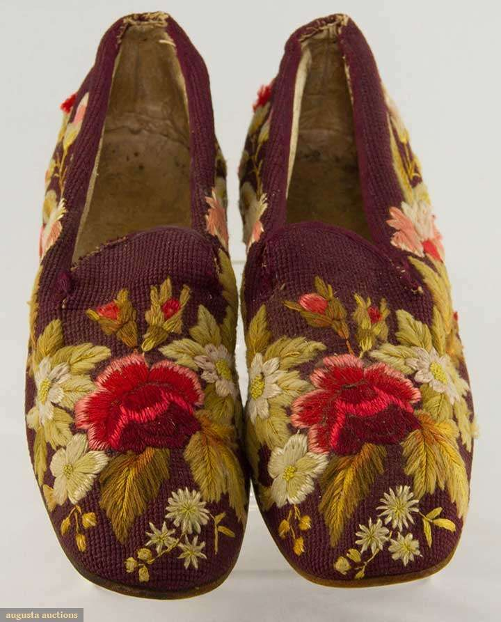"Burgundy wool stitched ground w/ embroidered wool & silk flowers, leather soles & white kid linings, 10.5"" X 3.25"", (tongue edges worn & back of heels restitched) very good."