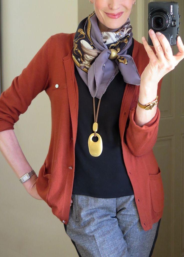 MaiTai's Picture Book: La Presentation de Cheveaux Hermès scarf in a cowboy knot. Scarf ring: MaiTai Collection