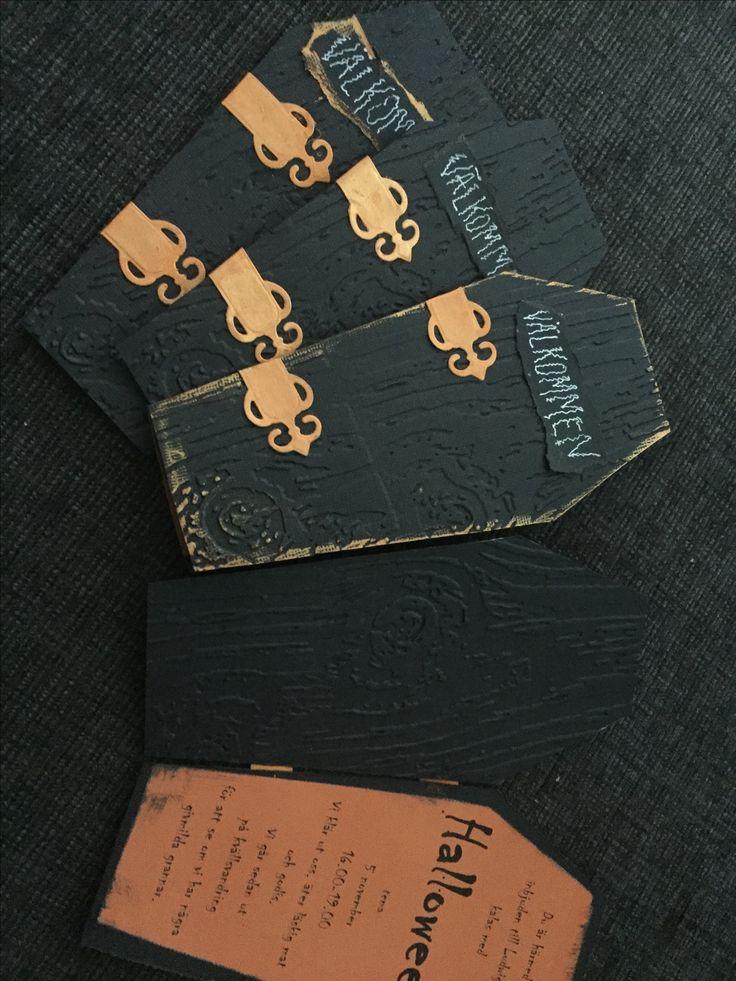 Halloween invitation coffin card