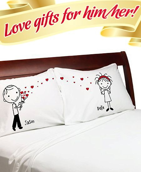Cute Pillow For Boyfriend : ?Stick People? ? Cute Heart Bouquet Couple Anniversary Pillow Cover Personalized Stick Figure ...
