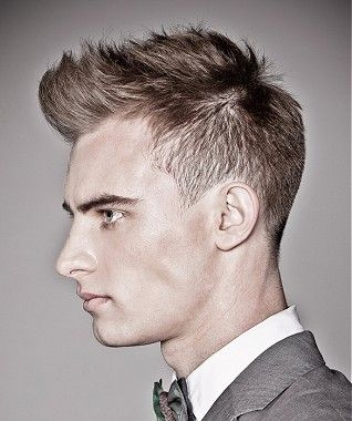 A  Brown straight shaved-sides spikey mens haircut hairstyle by Kinky  Straight
