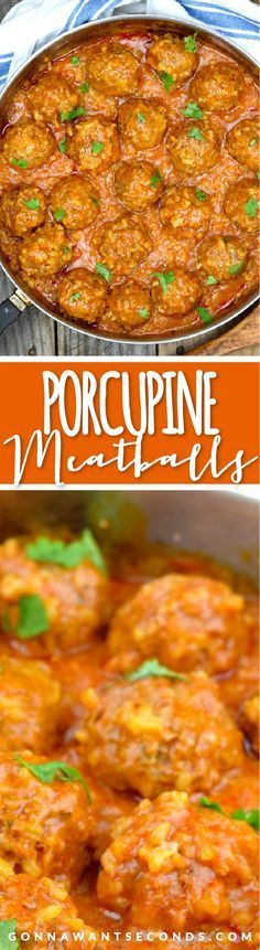 Old Fashioned Porcupine Meatball Recipe!  These super easy meatballs are made with beef and rice then simmered in a delicious tomato sauce.  Always a family favorite!