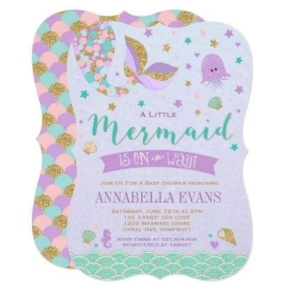 Mermaid Baby Shower Invitation Little Mermaid Baby - invitations personalize custom special event invitation idea style party card cards