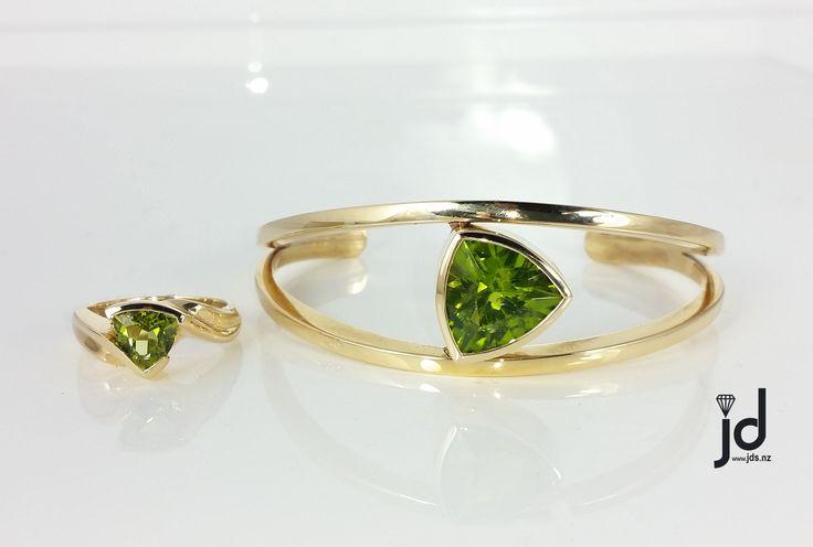 Green Peridot   Ring   Bangle   Yellow Gold   Matching Set   www.jds.nz