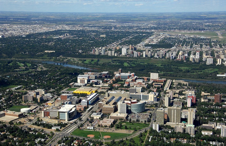 Aerial view of University of Alberta campus looking North.