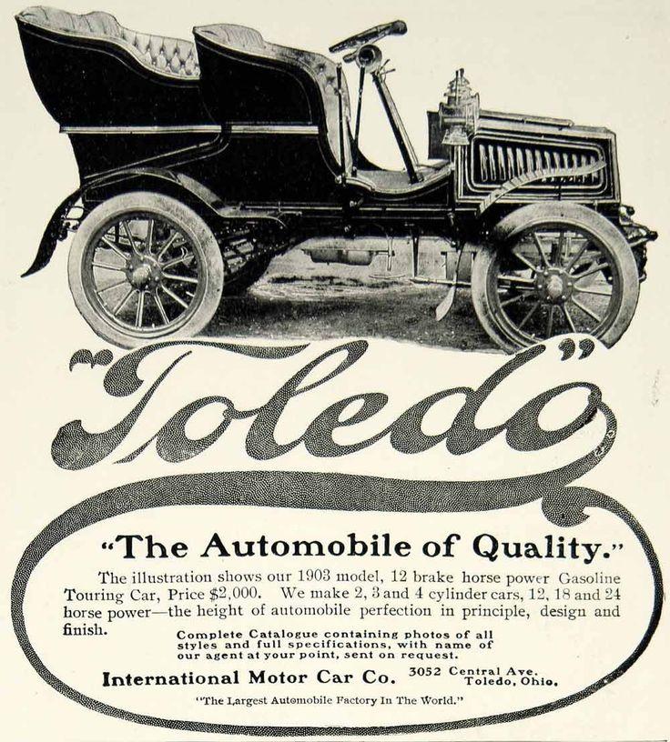 Buick Toledo: 1903 Ad International Motor Car Toledo Touring Car Brass