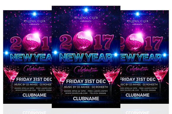 32 best 30+ 2017 New Year Party PSD Flyer Template images on - new year poster template