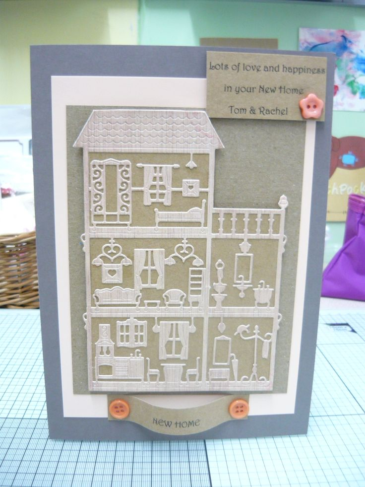 This new home card using my latest Tattered lace die the dolls house. I used Kraft card and buttons then added a sentiment