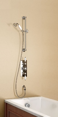 Burlington Clyde Concealed Thermostatic Shower with Overflow Filler - V36 Clyde Concealed Termostatic Shower Valve (with Rectangular Brass Faceplate - Dual Control)  V12 slide rail kit(including vertical arm , handset hose and 1/2  V10-2 Ceramic levers for Avon & Clyde Dual control valves (pair)  W15 Bath Overflow filler for Single ended bath  Choice of 3 valve handle styles  10 year Burlington guarantee  (PRICE INCLUDES VAT & DELIVERY TO MOST UK POST CODES).
