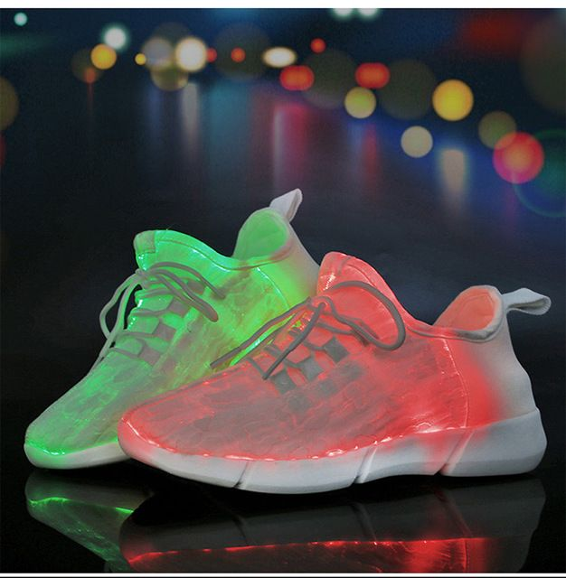 Multi-Color Fiber Optic LED Shoes Light Up LED Lighting Sneaker With USB Charger