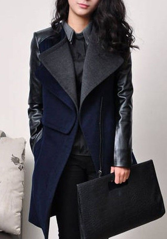 Coats I LOVE Navy Blue and Black Patchwork V-neck Long Sleeve Wool Coat #Navy_Blue #Black #Outerwear  #Fall #Winter #Fashion
