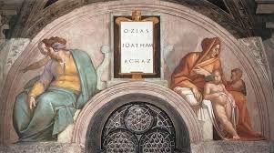 Michel-Ange – Plafond de la chapelle Sixtine – Lunettes des ancêtres du Christ - Ozias - Jotham - Achaz