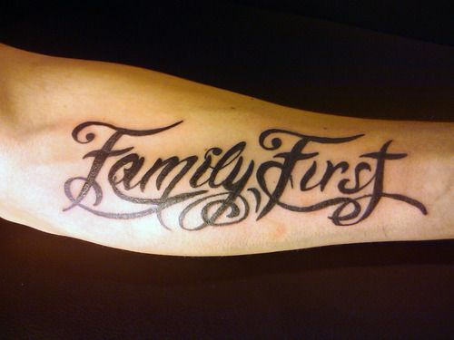family first tattoo | family first -- I would want the placement to be down the side of my waist though