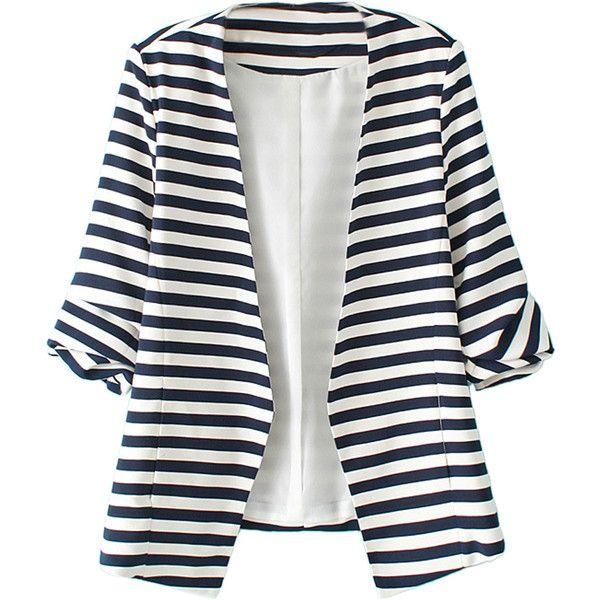 Blue And White Stripes Roll Up Sleeve Slim Blazer found on Polyvore featuring outerwear, jackets, blazers, coats, casacos, stripe blazer, slim fit jacket, stripe jacket, slim biker jacket and blue and white blazer