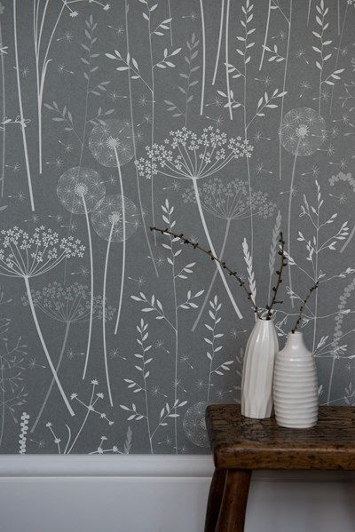 Paper meadow Wallpaper in Charcoal by Hannah Nunn http://www.hannahnunn.co.uk/products/wallpaper/paper-meadow-wallpaper-in-charcoal.html photo by http://www.sarahmasonphotography.co.uk/ Ceramics by http://www.ikukoi.co.uk/ from http://www.snug-gallery.com/