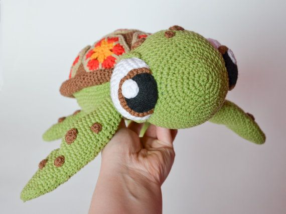 Crochet PATTERN - Squirt sea turtle from Finding Nemo  pattern by Krawka, Dory, turtle, tortoise, sea creature, cute, Disney, Pixar movie