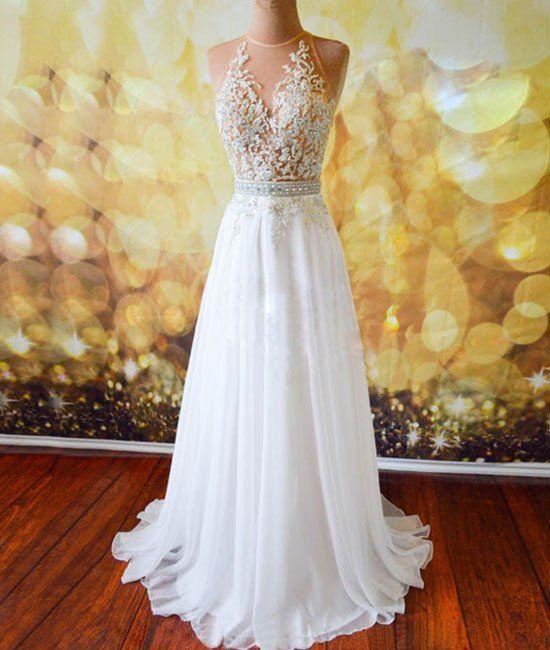 prom dresses,white a-line lace long prom dresses, evening dresses